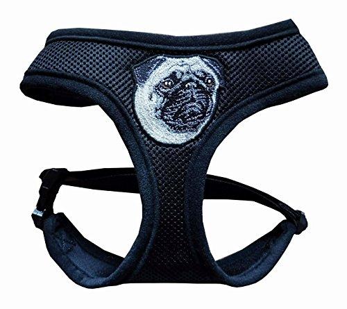 Beroni Hundegeschirr Mops Geschirr Brustgeschirr weich schwarz mit Stickerei verstellbar für einen Halsumfang von 37 cm - 43 cm, für einen Brustumfang von 47 cm - 65 cm