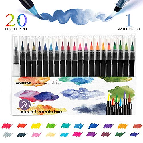 Watercolor Brush Pen,AOBETAK 20 Rotuladores Acuarelables + 1 Aqua Brush Pincel,Punta de Nylon Suave y Flexible,Pinceles para Acuarela, Pintar,Principiantes,Caligrafia,Artistas,Adultos,Niños