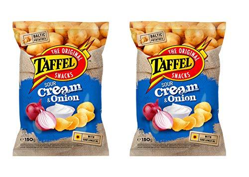 Papas fritas TAFFEL (crema agria y sabor a cebolla), 150 g, paquete de 2