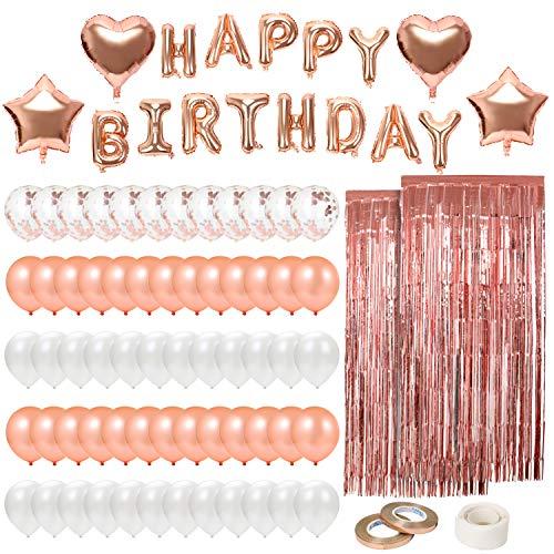 Corewill 82 piezas Globos de cumpleaños con pancarta de feliz cumpleaños para decoración de fiestas,  oro rosa y blanco