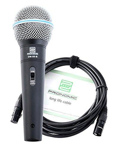 Pronomic DM-58-B Microfono vocale con interruttore SET con cavo XLR 5m