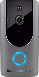 Smart Wireless WiFi Video Doorbell HD Security Camera with PIR Motion Detection Night Vision Two-Way Talk and Real-time Video Haoxuandianzi