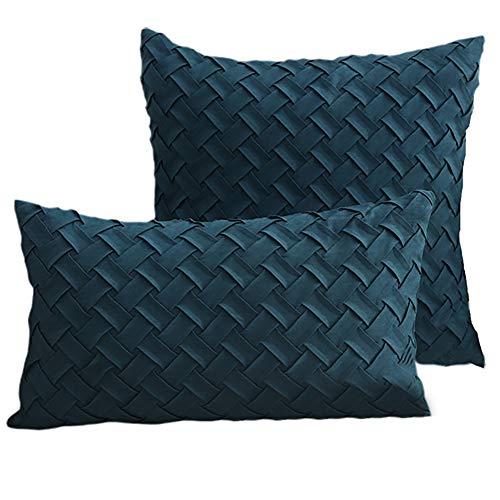 1 funda de cojín de terciopelo con diseño de piel de oveja, elegante atmósfera, simple y moderno decorativo, fundas de almohada con cremallera, fundas de almohada, fundas de sofá, cama de sofá, azul marino, 18 x 18
