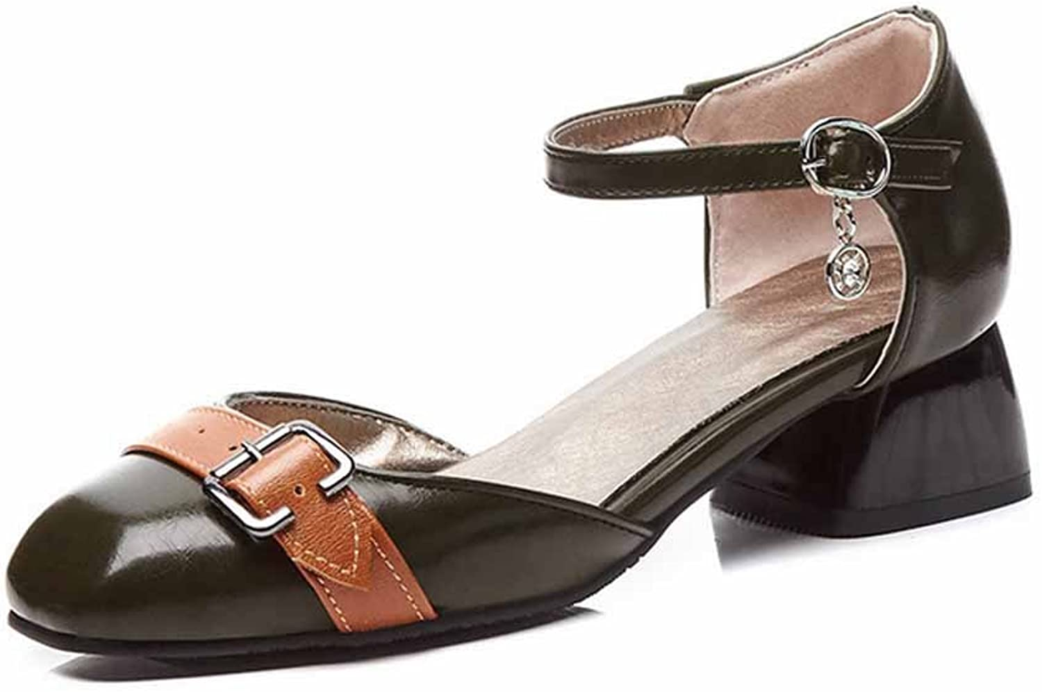 Women Closed Toe Sandals Casual Belt Buckle Ankle Strap Pumps Large Size 40-43