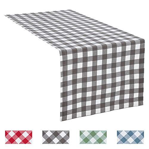 REDBEST Tischläufer, Tischdecke Landhaus karo Nashville grau Größe 40x170 cm - strapazierstark, langlebig, glattes Gewebe, mit Kuvertsaum (weitere Farben, Größen)