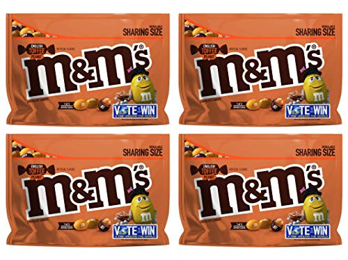 M&M's (Pack of 4) Chocolate Candy Flavor Vote English Toffee Peanut Sharing Size, 9.6 Ounce Bag