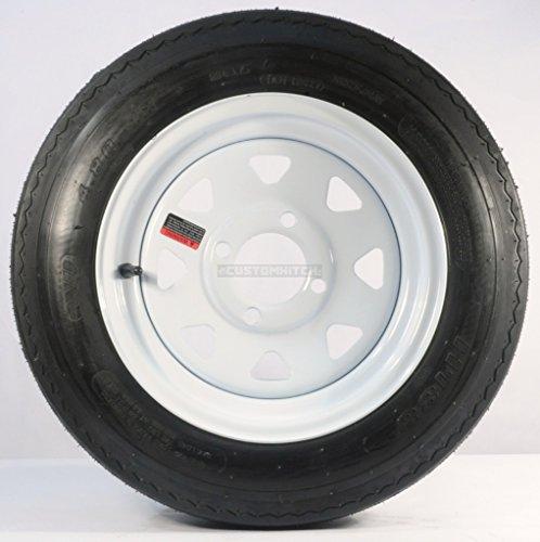 Two Trailer Tires On Rims 4.80-12 480-12 4.80 X 12 LRB 4Lug Wheel White Spoke