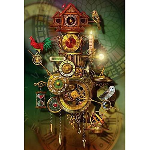 Taladro Redondo Completo 5D Kit De Pintura De Diamantes Diy Reloj Retro Bordado Patrón De Punto De Cruz Decoración Del Hogar 40X50cm