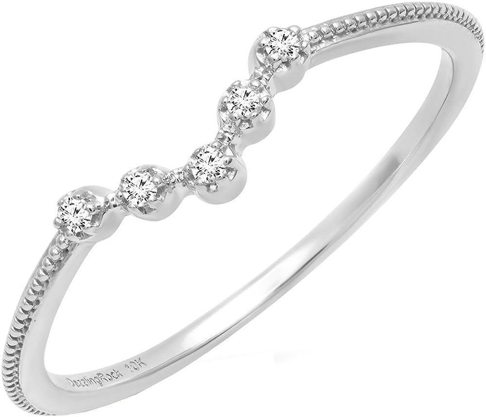 Dazzlingrock Collection 0.05 Carat (ctw) 14K Gold Round Diamond Ladies Five Stone Chevron Wedding Band