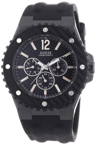 Guess W11619G1 - Reloj analógico de Cuarzo para Hombre con Correa de Caucho, Color Negro