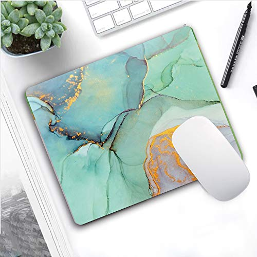 SHruizhuo Gaming Mouse Pad Turquoise with Designs,Green Marble Non-Slip Rubber Mousepad Custom, Rectangle Mouse Pads for Computers Laptop