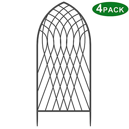 "Amagabeli 4 Pack Large Garden Trellis for Climbing Plants 75"" x 31"" Heavy Duty Rustproof Black Iron Plant Trellis for Potted Plants Support Tall Wall Metal Trellis for Rose Vegetables Cucumber GT05"