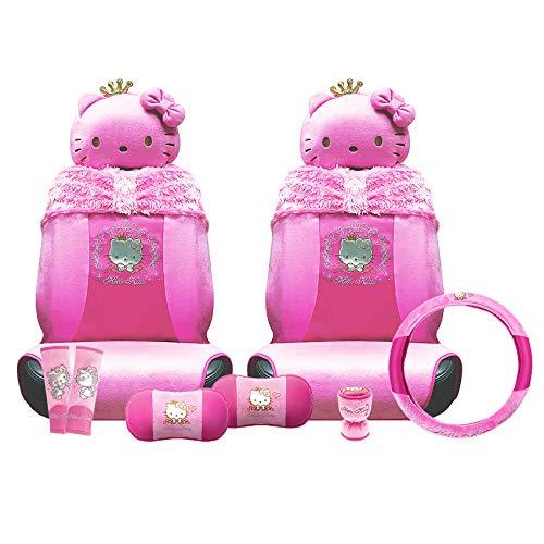 Kitty Hello Autozubehör-Set, 10-teilig, Prinzessinnen-Kollektion, Sitzbezüge, Sicherheitsgurte, Lenkrad usw.