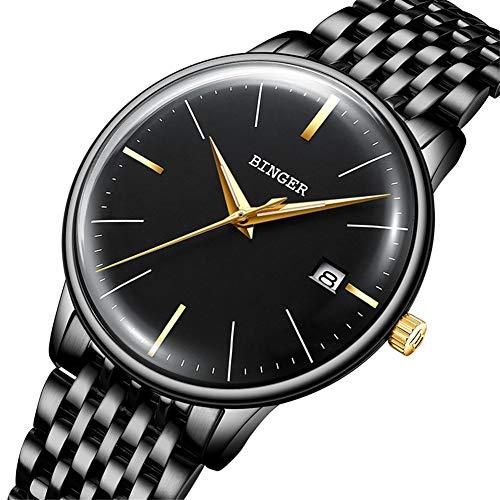 BINGER Reloj Automático Suiza Movimiento Zafiro de Japon Reloj mecánico Hombre Correa de Acero Inoxidable con Espejo Gris,Calendario 5078,E