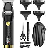 Mens Hair Clippers, OriHea Cordless Barber Clippers for Hair Cuttings, Hair Trimmer Professional Haircut Kit T-Blade Close Cutting Trimmer For Men, LCD Display Zero Gapped Beard Shaver