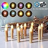 CCLIFE GS/CE LED Weihnachtskerzen Kabellos RGB Kerzen Bunt Weihnachtsbaumkerzen Christbaumkerzen mit Fernbedienung Timer Kerzenlichter, Farbe:Gold, Größe:30er