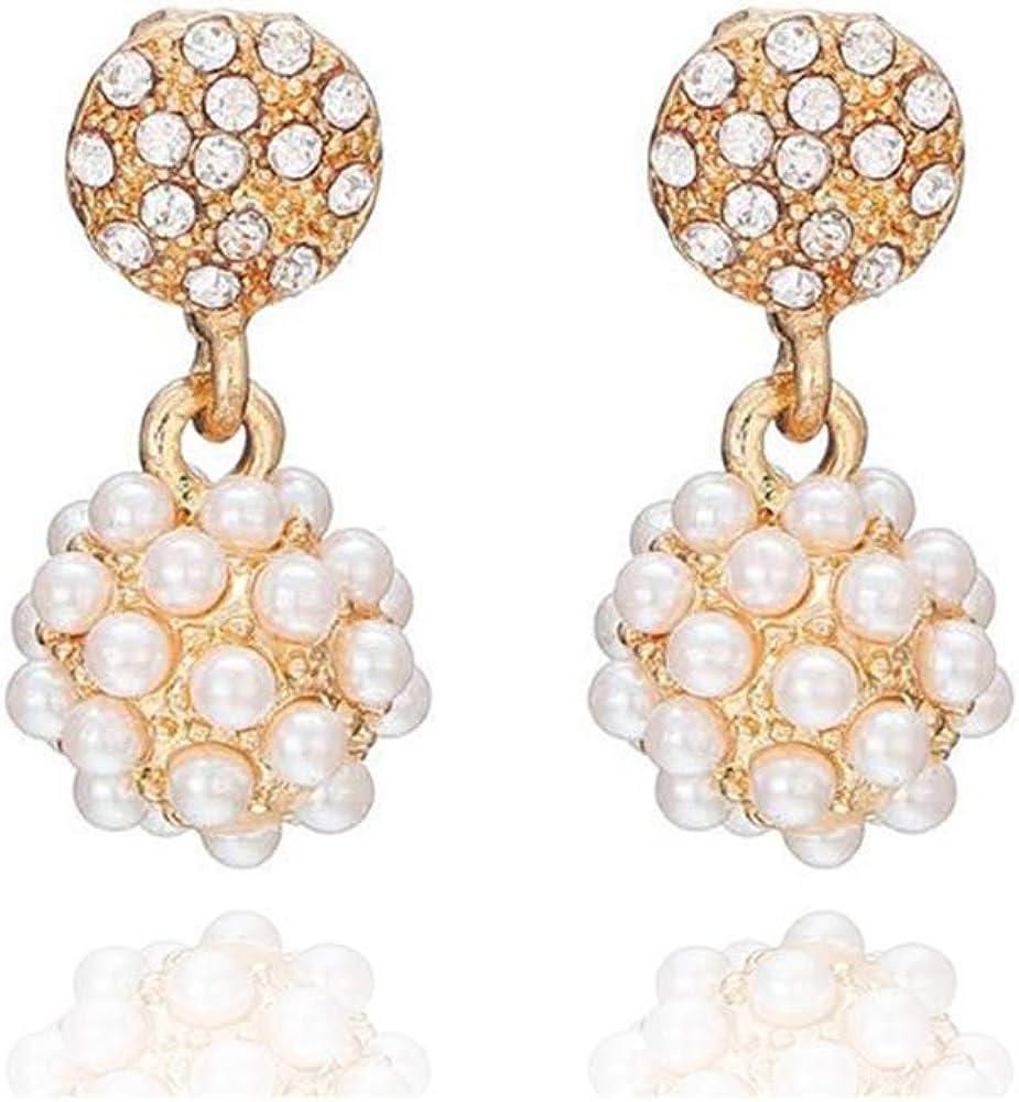 HAPPYAN Women's Bridal Wedding Rhinestone Faux Pearl Geometric Shape Clip on Earrings Luxury Fashion Ear Clip
