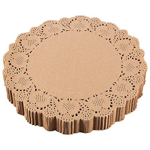 Juvale Papierdeckchen (Set, 250 Stück) - Einweg-Spitzendeckchen für Torten, Kuchen, Quiche oder als Untersetzer - Ideal für Hochzeiten, Formelle Events - Recyclebar - Braun- 30,5cm