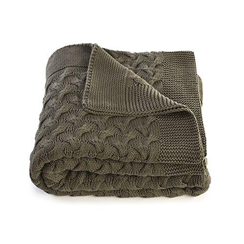 Kuprum Cotton Throw Blanket - Turkish Blanket (100% Cotton) - Throw Blanket for Couch Sofa Bed - 51 x 67 Inch - Green