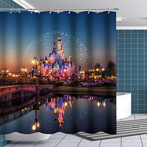 Fuortia Disney Castle Shower Curtain Fairyland for Kids Bathroom Polyester Waterproof Bathroom Curtain with Hooks for Bathroom Shower Decoration Fairy Tale World Fabric Shower Curtain Set 70x70Inches