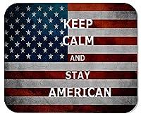 ゲーミングマウスパッド冷静さを保ち、アメリカ国旗をカスタマイズした長方形の滑り止めラバーマウスパッドゲーミングマウスパッド