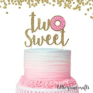 1 pc Two Sweet Donut Gold Glitter Cake Topper for Second Birthday Baby Toddler girl boy summer Party donut grow up theme