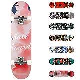 WeSkate Completo Skateboard 31'x8' 7 Capas Monopatín de Madera de Arce Skateboards con rodamientos ABEC-7 de 7 para Principiantes Niñas Niños Adolescentes Adultos