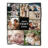 Custom Blankets with Photo, Personalized Throw Blanket Customized Blanket for Kids & Adults, Custom Bedding Blanket for Family Birthday Wedding (60'x80',8 Photos Collage with Text)