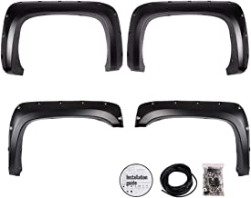 G-PLUS Smooth Black Pocket Rivet Style Wheel Fender Flares for 07-14 Chevy Silverado 1500 2500HD 3500HD 78.0