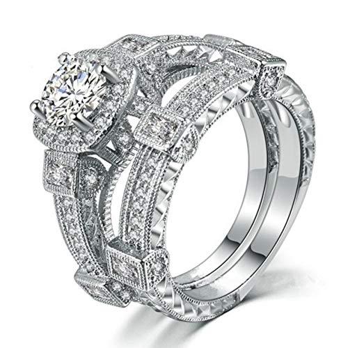 Timetided Anillos de plata de ley 925 para mujer, estilo popular entrelazado de viento Vintage, anillo de dedo para mujer, joyer¨ªa para regalo de uso diario