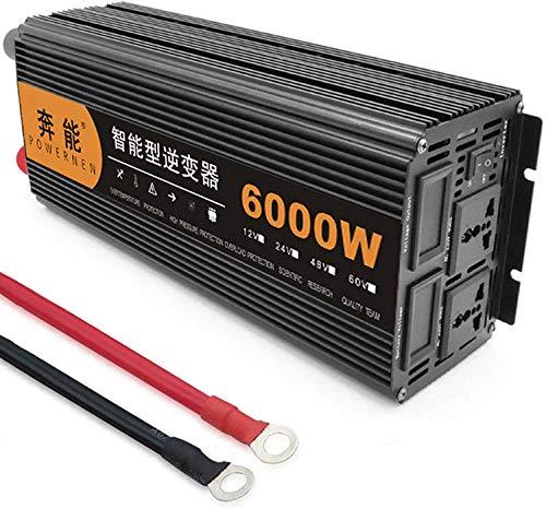 Auto Pure Sine Wave Inverter 3200W 4000W 5000W 6000W 8000W 9000W 12000W Voltage Converter DC 12V/24V to AC 220V 230V 240V Car Power Inverters Transformer for Car Caravan Camping Boat (6000W,12V)