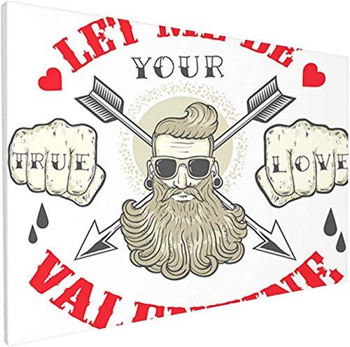 Lienzo artístico True Love and Let Me Be Your Valentine Mensajes con Barba Hombre Retrato Decoración Cuadro Oficina Fondo Cuadros Impresión Inicio Lienzo Cuadro Arte de pared para el hogar