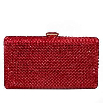 Elegant Women Box Clutch Crystal Evening Bags Wedding Handbags Bridal Purse  Red