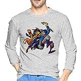 Sly Coo-Per - Camiseta de manga larga para hombre, estilo informal, 100% algodón, cuello redondo, cómodo, camiseta de moda, gris, L