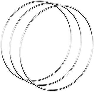 Worown 3 st 30 cm blomkrans ringar, silver metallringar för att göra bröllopskransdekor och vägghängande hantverk