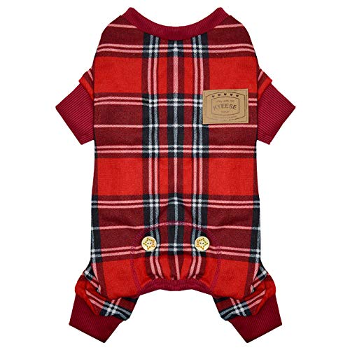 KYEESE Dog Pajamas Red Buffalo Check Stretchy Soft Dog Pjs for Medium Dogs Dogs Hair Shedding Cover Doggie Jammies Onesie Dog Clothes