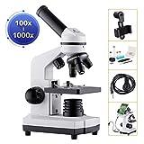 BNISE Microscopio 100-1000x per Bambini Studenti Adulti, con Adattatore per Telefono, Vetr...