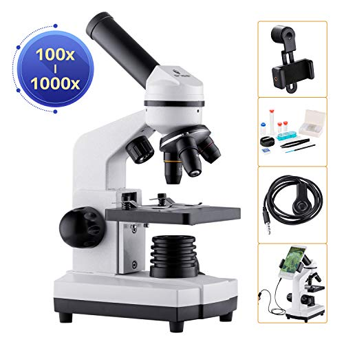 BNISE Microscopio 100-1000x per Bambini Studenti Adulti, con Adattatore per Telefono, Vetrini per Microscopio set, Microscopi Potenti per Scuola Laboratorio Home Biologico Scientifico Enducation