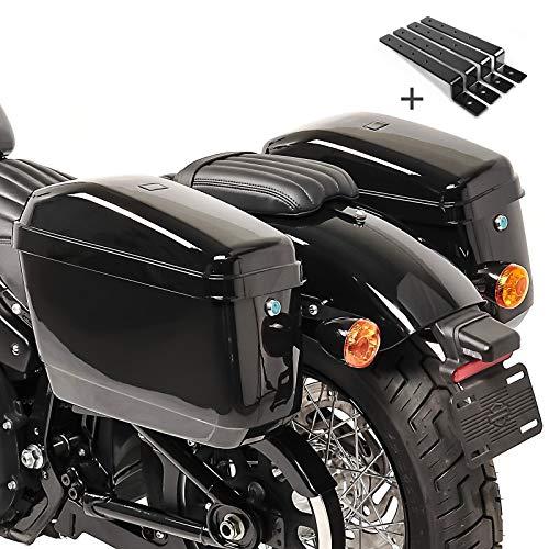Alforjas rigidas (par) Moto Custom Craftride Nevada 20l+Kit de Montaje para Honda Rebel CMX 500, VTX 1300/1800, Scout/Sixty, Shadow VT 750 Spirit/Black Spirit, VT 125/600/ 750 C, VT 1100 C2/ C3 Aero