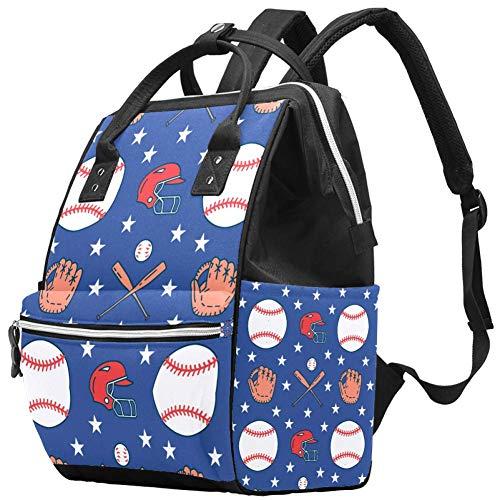 Baseball Softball Sport Game Balls Gloves Bat Helmet Pattern Changing Bags...
