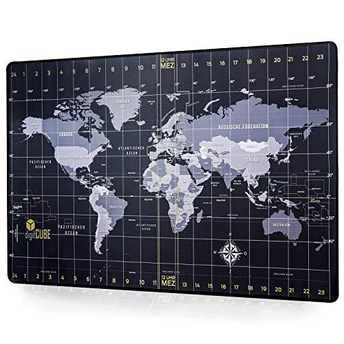 digitCUBE Podkładka na biurko 90 x 60 cm – mapa świata w języku niemieckim – podkładka do pisania czarna