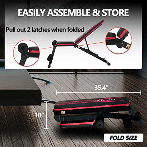 YIOFOO Adjustable Weight Bench, Compact Workout Bench for Home Gym Training, Foldable Incline Decline Bench for Full Body Exercise
