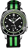 Anonimo Mens Nautilo Automatic Watch - 45mm Analog Black Face with Luminous Hands Date and Sapphire Crystal - Green/Black NATO Strap Swiss Made Stainless Steel Classic Watch AM-1002.11.007.A16