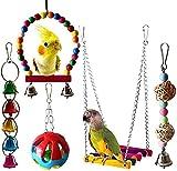 BESTZY Juguetes para Pájaros, 5 Piezas Juguete para Loros Perchas Pájaros Juguetes con Campanas, Escalera de Madera, Columpios, Hamaca de Madera para Periquitos, Cockatiels, Loro, Periquito, Cacatúas