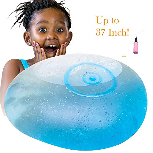 SISLAND Bubble Ball Giant-Inflatable Water Balloons Outdoor Toys for Kids-Best Gift for Kids(Blue with Pump)