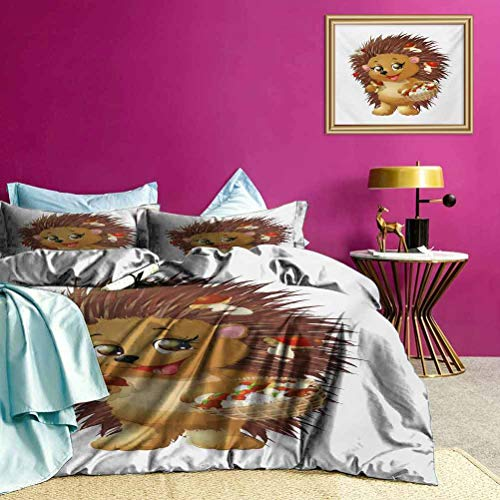Youdeem-home Hedgehog 1 Duvet Cover and 2 Pillowcases Hedgehog Holding Mushroom with a Basket of Autumn Foods Animal Fun Cartoon – Best Modern Style Pale Caramel Brown Twin Size