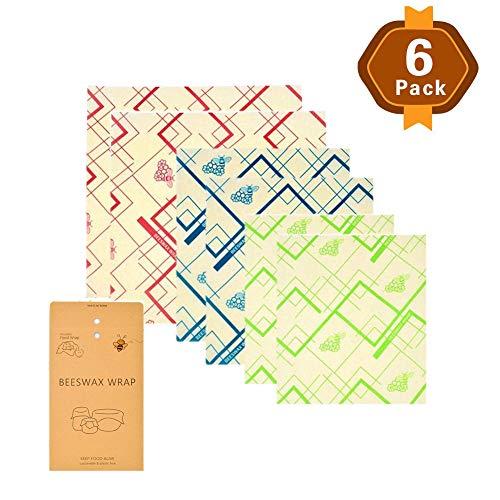 ZXDBK Bijenwas Wraps, Set van 3 (2 Kleine,2 Medium en 2 Grote) Herbruikbare Eco vriendelijke Wraps Alternatief voor Cling Film Geschikt voor voedsel opslag Wrappers voor Brood Sandwich Kaas Groenten