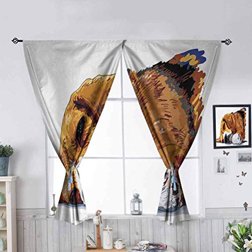 Hiiiman Privacy Rod Pocket Panels Dog Sleeping Canine Friendly Animal W55 x L45 Light Blocking Drapes for Living Room