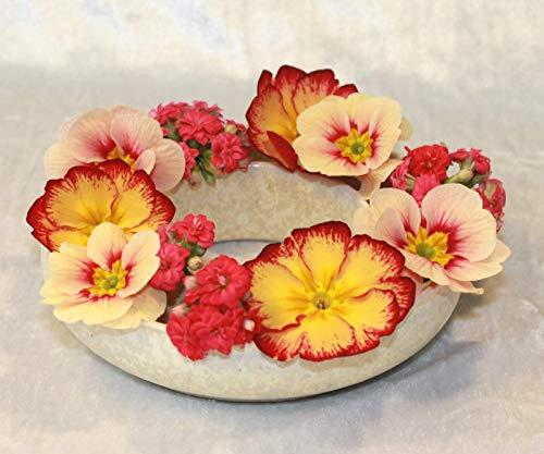 Blumenring Keramik weiße Kristallglasur, schöne Dekoraton - ideales Geschenk