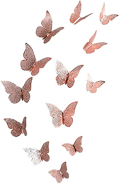 C Easy 3D Butterfly Wall Stickers DIY Wall Mural Decorative Decal Home Room Art Decoration Rose Gold 12PCS
